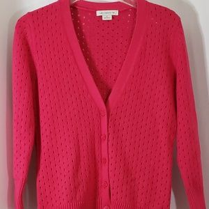 Liz Claiborne Cardigan Pink Long Sleeve V Neck Sm